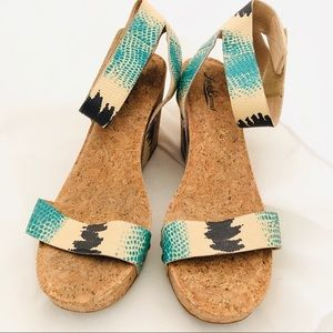 Lucky brand cork wedge sandals summer shoes 9 1/2
